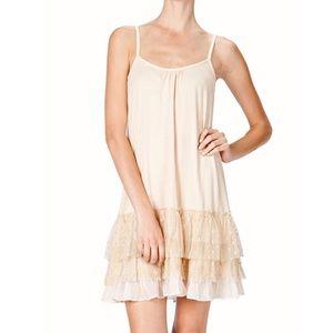 Areve Cream Layered Ruffle Slip Dress Medium